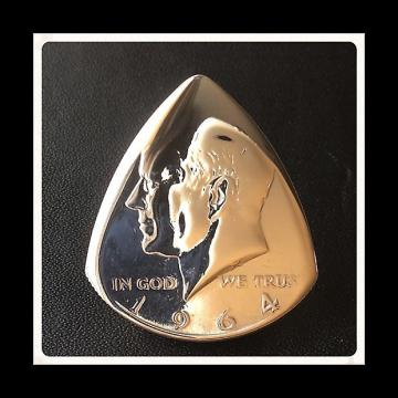 Custom Premium Guitar Plectrum. Silver 1964 USA Kennedy Half Dollar Pick / Plectrum