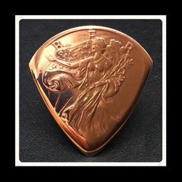 Custom Guitar Plectrum, Pick.  Golden State Mint, Walking Liberty Cooper Bullion Coin.