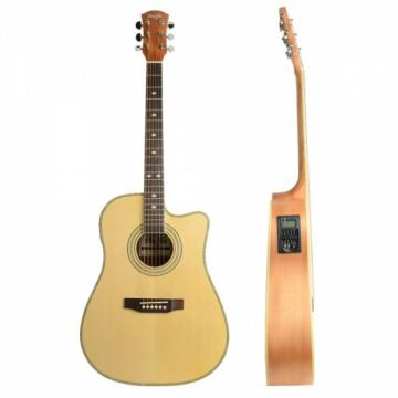 """Shuffle 41"""" Cutaway Electric Acoustic Guitar Wood Color with Pick Strings"""