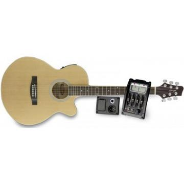 Great New Stagg Model Natural Deluxe Electric Acoustic Concert Size Guitar
