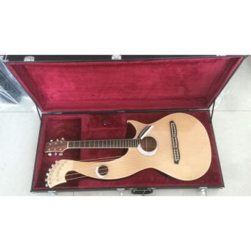 Custom 6 6 8 String Acoustic Electric Double Neck Harp Guitar