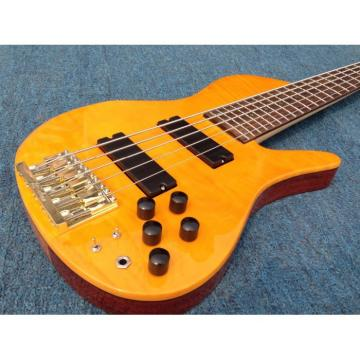 Custom YLW Fordera Palisander Body Active Pickups 5 String Solid Flame Maple Top Bass