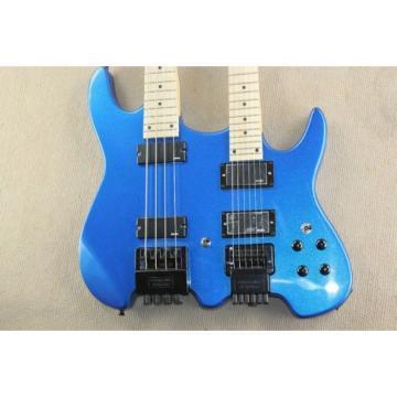 Custom Shop Double Neck Blue Steinberger Headless 4 String Electric Bass 6 String Guitar