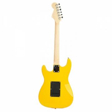 ST Black Pickguard Electric Guitar Yellow with Amplifier Bag Strap Tool Pick