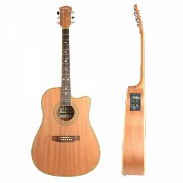 """Shuffle 41"""" Cutaway Electric Acoustic Guitar Coffee with Pick Strings"""