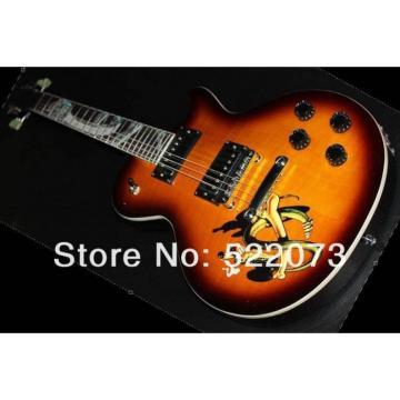 Custom Shop Sunburst Abalone Snake Inlay Fretboard Electric Guitar