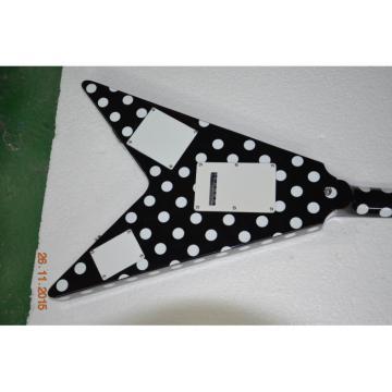 Custom Shop GMW Polka Dot Flying V Electric Guitar Black and White Randy Rhoads
