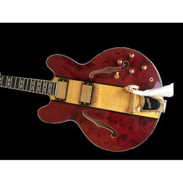 Custom Shop Fulcher ES335 Spalted Maple Veneer Red Electric Guitar