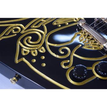 Custom Shop Explorer Electric Black Gold Painting Electric Guitar