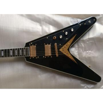 Custom Shop Black Gold Hardware LP Flying V Electric Guitar