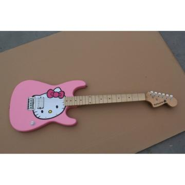 Custom Kitty Cat Fishbone Pink Electric Guitar