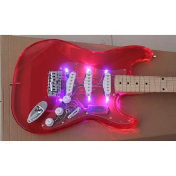 Custom Jimmie Vaughan Transparent Red Led Acrylic Stratocaster Electric Guitar