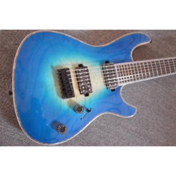 Custom Built Regius 7 String Trans Blue Mayones Guitar
