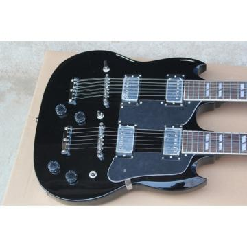 Custom Black Don Felder EDS 1275 SG Double Neck Electric Guitar Jimmy Page