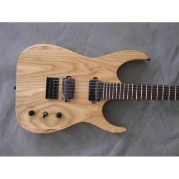 Custom Shop Black Machine 6 String Natural Wood Electric Guitar