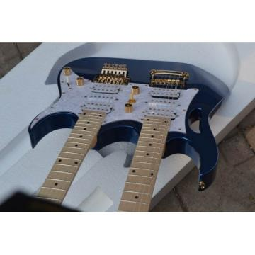Custom Shop Double Neck Jem Metallic Blue 6 and 12 Strings Electric Guitar