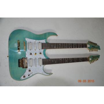 Custom JEM7V Flame Maple Top Sea Foam Green Double Neck 6/12 Strings Guitar