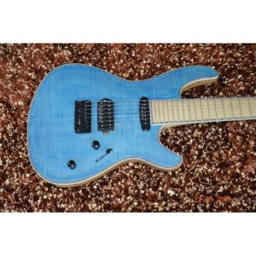 Custom Built Regius 7 String Blue Flame Maple Top Finish Mayones Guitar