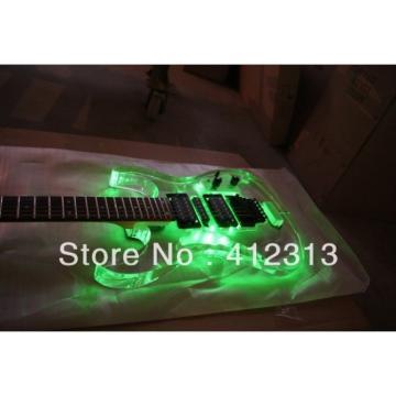 Custom Jackson Lucite Acrylic Plexiglass Green Led Guitar