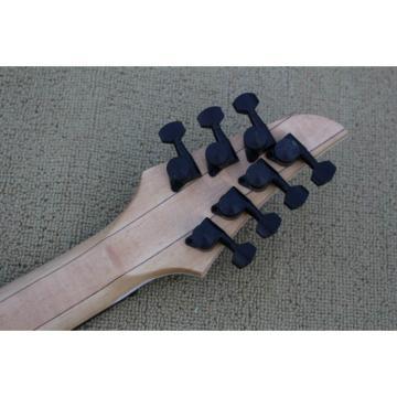 Custom Shop 7 String Birdseye  Natural Electric Guitar Black Machine