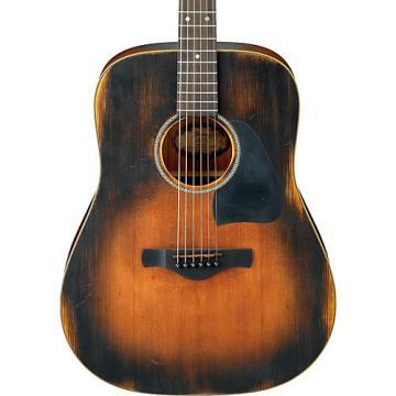 Ibanez AVD6 Artwood Vintage Distressed Dreadnought Acoustic Guitar Tobacco Sunburst