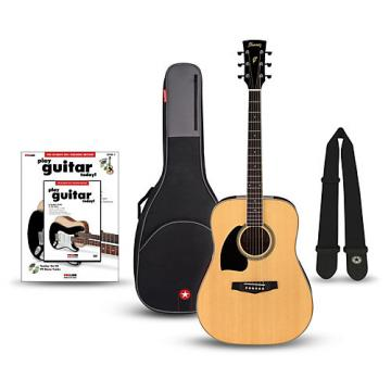 Ibanez Performance Series PF15 Left Handed Dreadnought Acoustic Guitar Bundle Natural