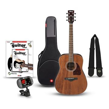 Ibanez AW54OPN Artwood Solid Top Dreadnought Open Pore Acoustic Guitar Bundle Natural
