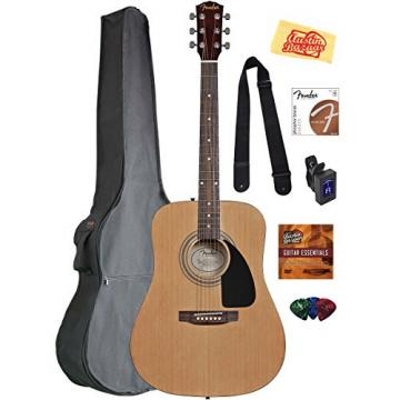 Fender Acoustic Guitar Bundle with Gig Bag, Tuner, Strings, Strap, Picks, Austin Bazaar Instructional DVD, and Polishing Cloth