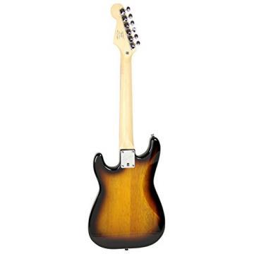 Squier by Fender Mini Strat Electric Guitar Bundle with Clip-On Tuner, Strap, Picks, Austin Bazaar Instructional DVD, and Polishing Cloth - Sunburst