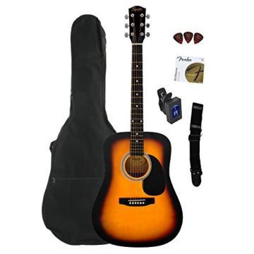 Fender Squier Dreadnought Acoustic Guitar Bundle with Gig Bag, Tuner, Strap, Strings, and Picks - Sunburst