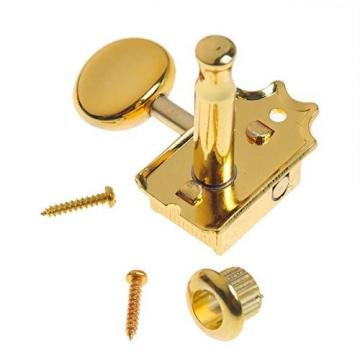 Musiclily Vintage Style Semiclosed 6-in-line Electric Guitar Tuner Tuning Key Pegs Machine Head Set Right Hand for Fender Squier Guitar Replacement, Gold
