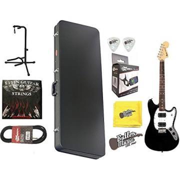 Fender Squier Bullet Mustang HH, Rosewood Fingerboard - BK w/Hard Case & More