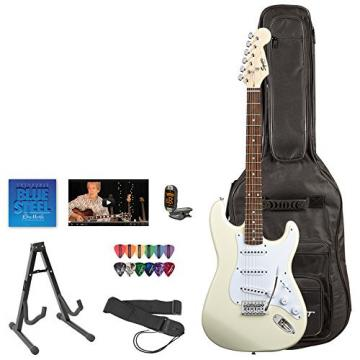 Squier by Fender Arctic White Electric Guitar with Stand, Strap, Strings, Gig Bag, Tuner, Pick Sampler & Online Lesson