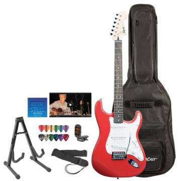 Fender Squier Red Electric Guitar with Stand, Strap, Strings, Gig Bag, DVD, Tuner & Pick Sampler