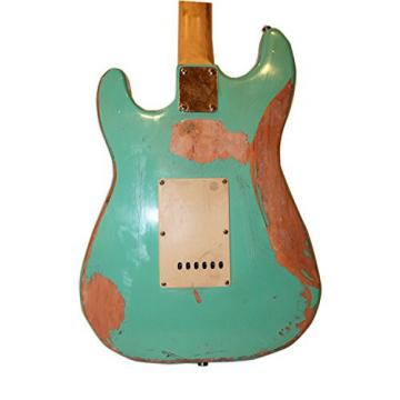 Sawtooth Handcrafted Americana ES Relic Solid Body Electric Guitar with Hard Case, Surf Green