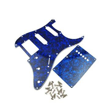 IKN Pickguard Scratch Plate 11-hole HSS & Tremolor Cover W/screws Blue Pearl for ST/Squier Style Guitar