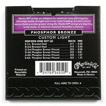 Martin MSP 4050 SP Phosphor Bronze Custom Light Acoustic Guitar Strings