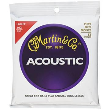 Martin M190 80/20 Bronze 12-String Acoustic Guitar Strings, Light