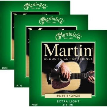 3 Pack - Martin M170 80/20 Bronze Acoustic Guitar Strings Set - Extra Light