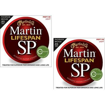 Martin MSP7100 SP Lifespan 92/8 Phosphor Bronze Acoustic Guitar Strings, Light 2 Pack
