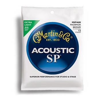 Martin SP Acoustic 12-String Set: Phosphor Bronze Guitar Strings Extra Light MSP4600 .010 - .047