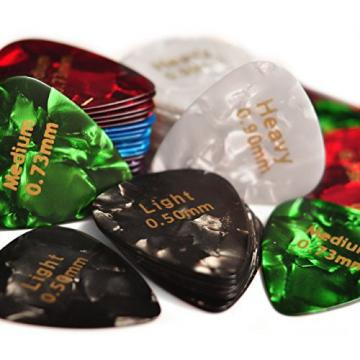 Celluloid Guitar Picks 60 Pcs - Recommended Electric, Acoustic or Bass Plectrum Colorful Cool Set - Thin (Light), Medium and Heavy Unique Variety Pack -Awesome Kids, Beginner and Pros Assorted Sampler