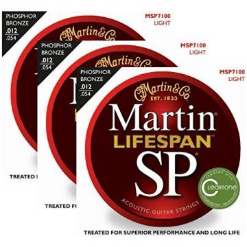 3 Packs of Martin MSP7100 Lifespan SP Light Acoustic Guitar Strings