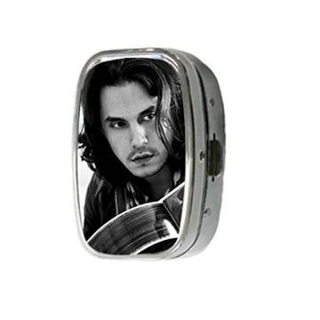 Turekk Custom John Mayer With His Martin Guitar Personality Style Sliver Stainless Steel Square Pill Box Pill Case Vitamins Organizer