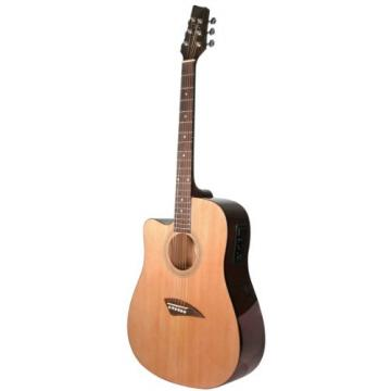 Kona K1EL Left-Handed Acoustic Electric Dreadnought Cutaway Guitar in Natural High Gloss Finish