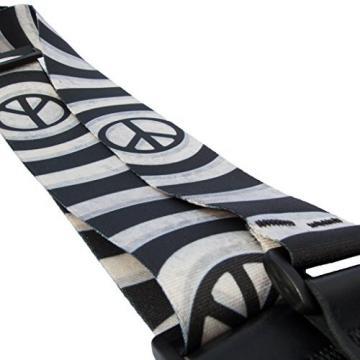 LeatherGraft Black White Circles Peace Symbol Print Nylon Electric Acoustic Bass Guitar Strap