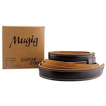 """Guitar Strap, Guitar Acessories Real Leather with A Shoulder Pad Strap for Bass & Guitar Adjustable Length from 41"""" to 59"""" (Brown)"""