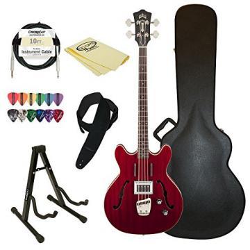 Guild Starfire Bass CHR-KIT-2 Semi-Hollow Electric Bass Guitar, Cherry Red
