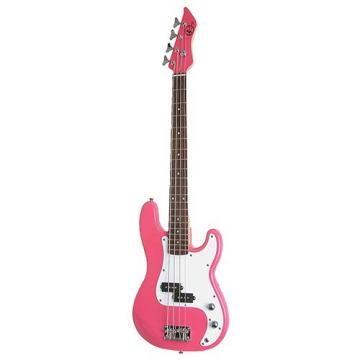 It's All About the Bass Pack - Pink Kay Electric Bass Guitar Medium Scale w/Honey tone Mini Amp & Red Guitar Stand