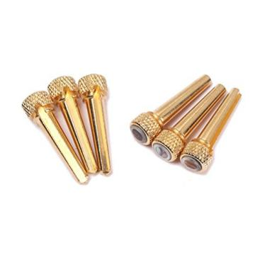Acoustic Guitar Bone Bridge Pins with Abalone Dot and Brass Circle Skirt 6pcs